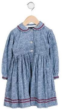 Oscar de la Renta Girls' Embroidered Floral Dress