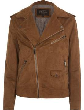 River Island Mens Tan faux suede biker jacket