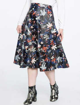 ELOQUII Studio Faux Leather Printed Midi Skirt