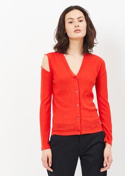 MS MIN Red Asymmetric Long Sleeve Fine Knit Cardigan