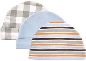 Luvable Friends Baby Boy Caps, 3-Pack