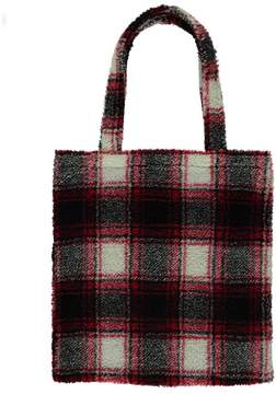 Forever 21 Faux Shearling Plaid Tote Bag