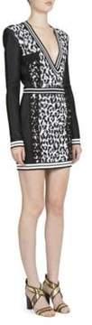 Balmain Long-Sleeve Animal Jacquard Dress