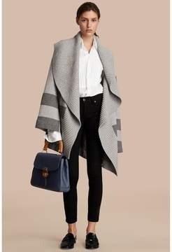Burberry Check Wool Cashmere Blend Cardigan Coat