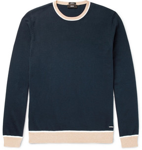 HUGO BOSS Marcelli Slim-Fit Contrast-Trimmed Cotton Sweater