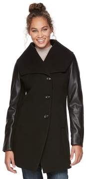Apt. 9 Women's Faux-Leather Wool Blend Coat