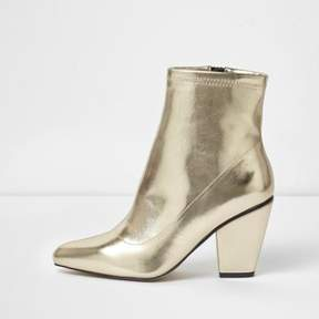 River Island Womens Gold metallic pointed cone heel boots
