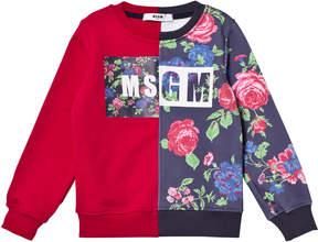 MSGM Pink Floral and Logo Sweatshirt