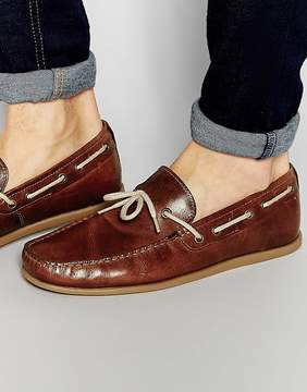 Red Tape Driving Loafers In Tan Leather