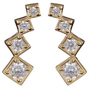 Candela 10K Yellow Gold CZ Climber Stud Earrings