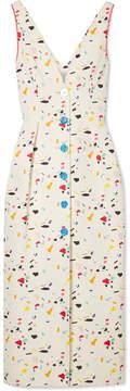 Carolina Herrera Printed Cotton-blend Faille Midi Dress - Ivory