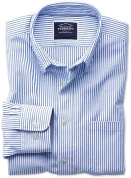 Charles Tyrwhitt Classic Fit Button-Down Washed Oxford White and Blue Stripe Cotton Casual Shirt Single Cuff Size Large