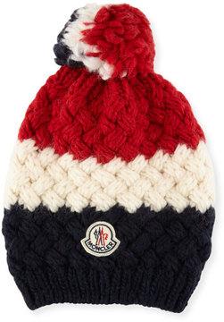 Moncler Men's Tricolor Jumbo Pompom Beanie Hat