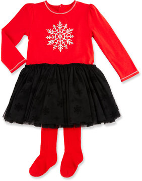 Petit Lem Two-Piece Snowflake-Graphic Dress & Legging Set, Red, 3-9 Months