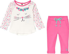 Joules White Cat Face with 3D Ears Long Sleeve T-Shirt and Pink Leggings Set