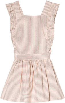 Emile et Ida Beige and White Rayure Striped Dress