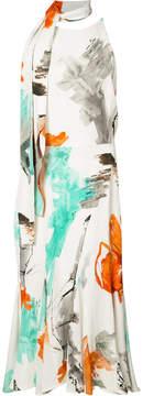 Christian Siriano tie-fastening printed dress