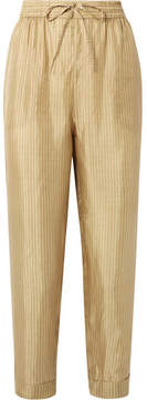 Mes Demoiselles Melomane Striped Silk Tapered Pants - Mustard