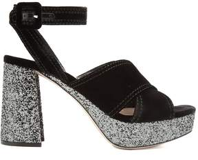 Miu Miu Velvet and glitter-covered platform sandals