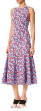 Carolina Herrera Floral-Print Neoprene Midi Dress