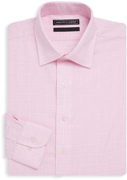 Saks Fifth Avenue BLACK Men's Checkered Slim-Fit Cotton Dress Shirt