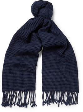 J.Crew Fringed Waffle-Knit Cotton Scarf