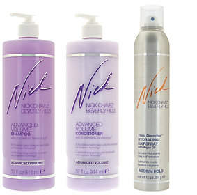 Nick Chavez Advanced Volume 32oz Shampoo & Conditioner w/ Hairspray
