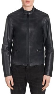 Emporio Armani Regular-Fit Leather Moto Jacket