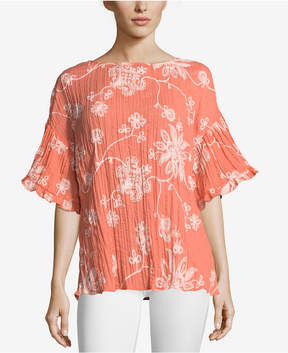 ECI Embroidered Crinkle Top
