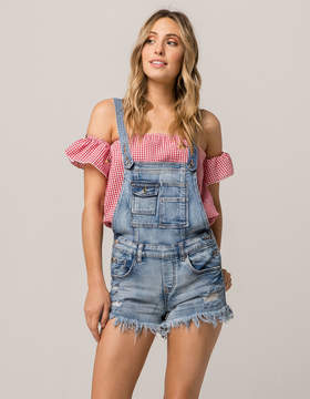 Almost Famous Fray Denim Womens Shortalls