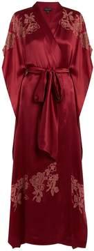 Carine Gilson Lace-appliqué silk-satin kimono