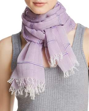 Aqua Embroidered Striped Oblong Scarf - 100% Exclusive