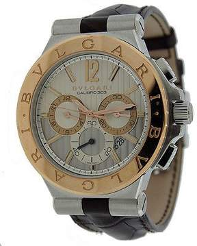 Bvlgari Diagono Silvered Dial Chronograph Men's Watch