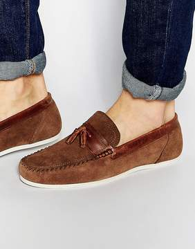 Red Tape Tassel Loafer In Brown Suede