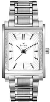 Bulova Diamond White Dial Stainless Steel Men's Watch 96E113