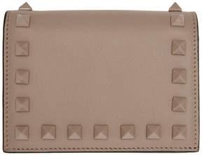 Valentino Pink Garavani Small Rockstud French Flap Wallet