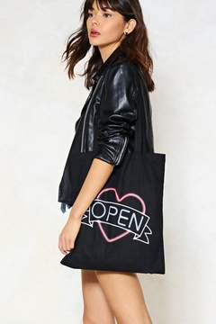 Nasty Gal Open Up Neon Sign Tote Bag