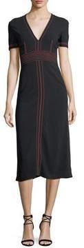Burberry Short-Sleeve V-Neck Midi Dress