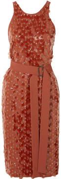 Bottega Veneta Belted Embellished Crepe Wrap Dress - Orange