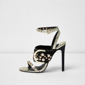 River Island Womens Gold studded buckle barely there sandals