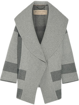 Burberry Checked Wool-blend Cardigan - Gray
