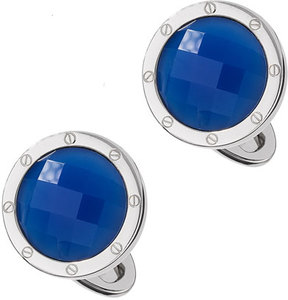 Jan Leslie Blue Agate Faceted Cuff Links