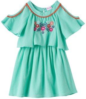 Nannette Girls 4-6x Embroidered Cold-Shoulder Gauze Dress