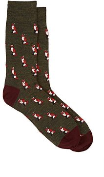 Corgi Men's Fox Wool-Blend Mid-Calf Socks