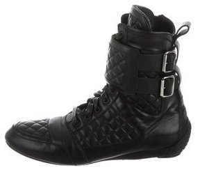 Balmain Quilted Leather Boots