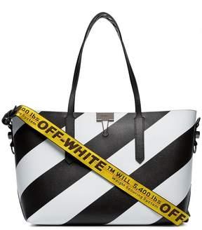 Off-White Black and white diagonal striped leather tote
