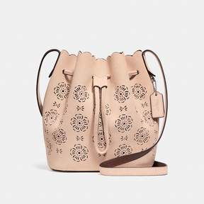 COACH COACH BUCKET BAG 18 WITH CUT OUT TEA ROSE - BEECHWOOD/LIGHT GOLD