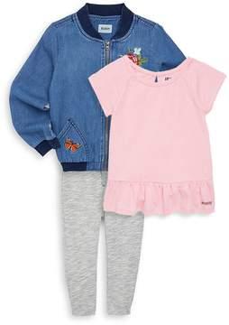 Hudson Little Girl's Three-Piece Bomber Jacket, Top & Pants Set