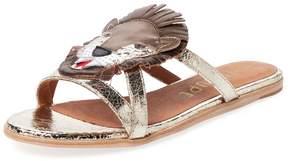 F-Troupe Women's Lion Metallic Leather Sandal