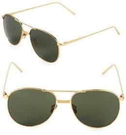 Linda Farrow 56MM Round Aviator Sunglasses